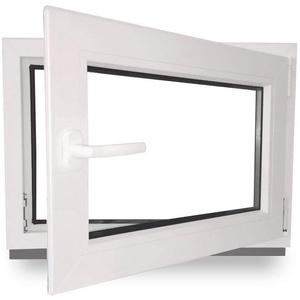 Kellerfenster - Kunststoff - Fenster - innen weiß/außen weiß - BxH: 100 x 60 cm - 1000 x 600 mm - DIN Rechts - 2 fach Verglasung - 60 mm Profil