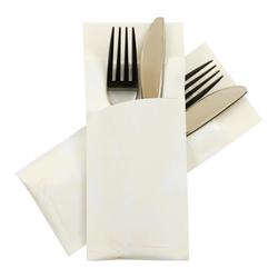 Pochetto Bestecktaschen 200x85mm creme marmor. inkl. Serviette weiß,  50 Stk.