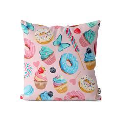 Kissenbezug, VOID (1 Stück), Doughnuts Party Donuts Kissenbezug Cupcake Einhorn Süßigkeiten Donuts Süßwaren 50 cm x 50 cm