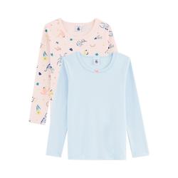 Petit Bateau Unterhemd Unterhemden langärmlig Doppelpack für Mädchen 128