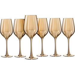 my home Weinglas Naila (6-tlg), Glas, mit hochwertiger goldfarbener Optik, 350 ml