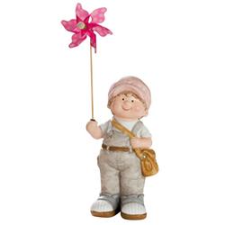 dekojohnson Gartenfigur Deko-Figur-Kind Junge mit Windrad Gartenfigur 31