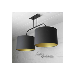 Licht-Erlebnisse Deckenleuchte ALICE Schwarze Deckenlampe Stoffschirm modern Vintage Esstisch Lampe