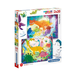 Clementoni® Puzzle Puzzle 2x20 Teile - Funny Dinos, Puzzleteile