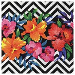 Linoows Papierserviette 20 Servietten Sommer, Sonne, Tropische Blüten auf, Motiv Sommer, Sonne, Tropische Blüten auf Muster