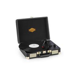 Auna Peggy Sue Plattenspieler Stereolautsprecher USB-Anschluss schwarz/gold Plattenspieler