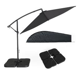 OK-Living Ampelschirm Sonnenschirm 300cm Set inkl. Schutzhülle + Schirmständer befüllbar