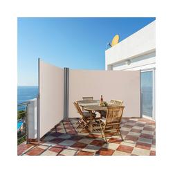 COSTWAY Markise Doppelseitenmarkise 180x600cm, Beige weiß 600 cm x 180 cm