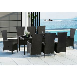 ArtLife Polyrattan Sitzgruppe Rimini Plus 9-teilig schwarz   Gartenmöbel Set
