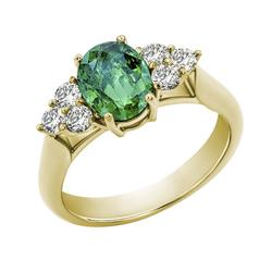 Verlobungsring aus 750 Gold mit ovalem Smaragd und Diamanten Rolena
