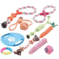 10er-Set bunte Hundespielzeuge aus Baumwolle zum Kauen und Toben