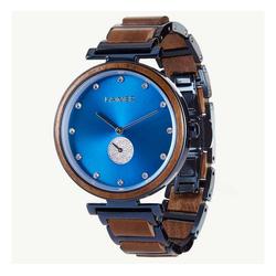 LAiMER Quarzuhr 0154 Miriam, Damen Walnuss-Holz Armbanduhr Blau mit Swarovski Kristallen