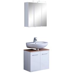 HELD MÖBEL Badmöbel-Set Avignon, (2-tlg), mit 3D-Spiegelschrank mit LED-Aufsatzleuchte weiß