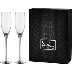 Eisch Sektglas Champagner Exklusiv, (Set, 2 tlg.), Kristallglas, Auflage in Platin, 180 ml grau Kristallgläser Gläser Glaswaren Haushaltswaren Trinkgefäße