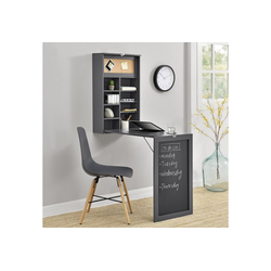 en.casa Wandregaltisch, Ausklappbarer Schreibtisch [Dunkelgrau] - Mit Regal, Pinnwand & Tafel grau