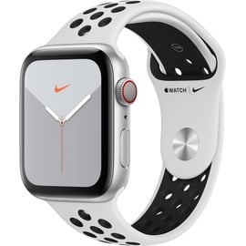 Apple Watch Series 5 Nike GPS + Cellular 44 mm Aluminiumgehäuse silber, Nike Sportarmband pure platinum/schwarz