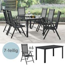 ArtLife Aluminium Gartengarnitur Milano Gartenmöbel Set mit Tisch und 6 Stühlen dunkel-grau