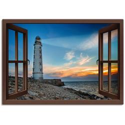 Artland Wandbild Fensterblick Leuchtturm, Fensterblick (1 Stück) 100 cm x 70 cm