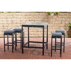 CLP Polyrattan Gartenbar-Set Alia I Gartenmöbel-Set Mit Tisch Und 4 Barhockern Inkl. Sitzkissen I In Verschiedenen Farben Erhältlich