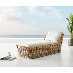 DELIFE Gartenliege Nizza aus Rattan Natur 90x180 cm Kissen, Gartenmöbel
