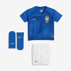 Brasil Away Fußballtrikot-Set für Babys - Blau, size: 3-6M