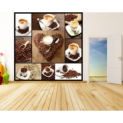 Bilderdepot24 Fototapete, Fototapete Kaffee Collage, selbstklebendes Vinyl bunt 1 m x 1 m
