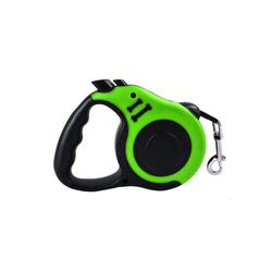TOPMELON Hunde-Geschirr, Nylon + Kunststoff, Hundeleine Rollleine & Doppel-Knopf-Anti-Rutsch-Griff, 5m, Kunststoff grün L