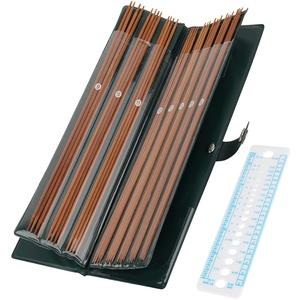 Coopay Bambus Stricknadeln 35cm, Leicht Doppelspitzen Stricknadeln Set mit Ledertasche, 2,0 bis 5,0 mm, Lange Gerade Stricknadel Set 44 Pack für Socken Stricken oder Kleines Kreisförmiges Projekt