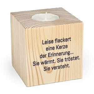 KATINGA Teelichthalter Gedenken, 8x8x8cm, inkl. Teelicht (Motiv 4)
