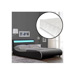 Corium Polsterbett, LED Modernes Polsterbett Matratze 140x200cm Kunst-Leder Schwarz Bett CORIUM schwarz 149 cm x 221 cm x 83 cm