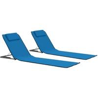VidaXL 2X Strandmatte 2 Stk. Stoff Blau