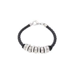Jacques Charrel Armband Lederband mit Rondellen und Kristallsteinen