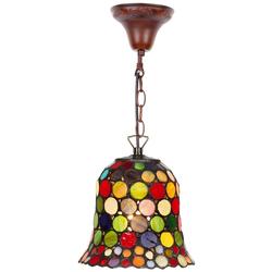 Casa Padrino Tiffany Hängeleuchte / Pendelleuchte Mehrfarbig Ø 16 cm - Handgefertigte Tiffany Leuchte