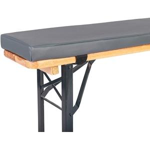 TexDeko Bierbank-Auflage (Einzeln) Kunstlederbezug mit RV Sitzpolster für Bierzeltgarnitur (↨2,3cm Polsterhöhe, Grau)