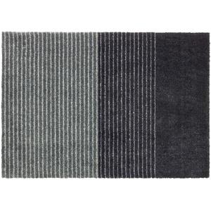 Schöner Wohnen Kollektion Rutschhemmende Sauberlaufmatten Manhattan – waschbarer Teppichläufer – strapazierfähige Schmutzfangmatten – (Streifen anthrazit-grau, 50 x 70 cm)