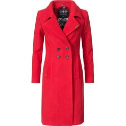 Navahoo Wintermantel Wooly edler Damen Trenchcoat in Wollmantel-Optik rot M (38)