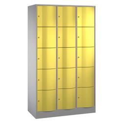 CP Schließfachschrank Resisto 8570 372, Metall, 3 Abteile mit 15 Fächern, abschließbar, 115x195cm (BxH), gelb