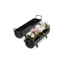 relaxdays Blumenkasten Blumenkasten Dachrinne 2er Set grau