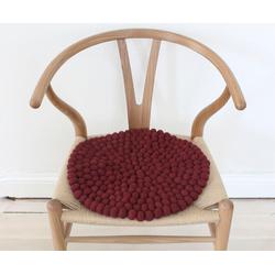 Wooldot Sitzkissen Uni Color, rund, Filzkugel-Teppich, Wolle, auch als Set bestellbar rot