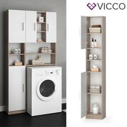 VICCO Anstellschrank LUIS Waschmaschinenschrank Badmöbel Badschrank Sonoma Weiß