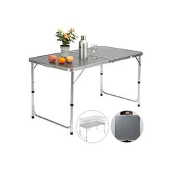 Casaria Campingtisch (1-St), platzsparend klappbar • höhenverstellbare Tischhöhe • wetterfestes Alu Gestell • leicht • Sonnenschirmhalterung • Tragegriff • leicht zu transportieren grau