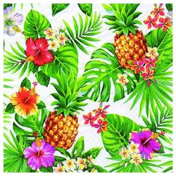 Linoows Papierserviette 20 Servietten Sommer, Tropen, Ananas, Blüten &, Motiv Sommer, Tropen, Ananas, Blüten und Palmenblätter