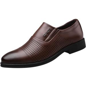 Herren Lederschuhe Casual Pointed Toe Oxford Leder Hochzeitsschuhe Business Schuhe Formale Perforierte Atmungsaktive Herrenschuhe Hohle Einzelschuhe, Brown, 46 EU