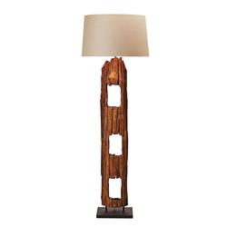 Kiom Stehlampe Stehleuchte Morelos beige & Echtholz natur 175 cm