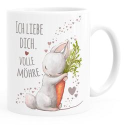 MoonWorks Tasse Kaffee-Tasse Liebesgeschenk Ich liebe dich volle Möhre Hase mit Karotte Liebesbotschaft Liebesbeweis Moonworks®