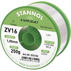 Stannol ZV16 Lötzinn, bleifrei bleifrei Sn0.7Cu 250g 1mm