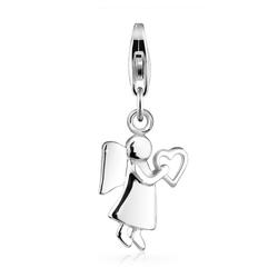 Elli Charm-Einhänger Schutzengel Herz Talisman Glücksbringer 925 Silber, Engel silberfarben