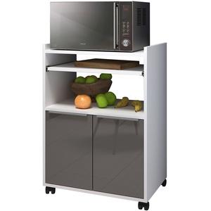 Berlioz Creations Servierwagen Küche mit Mikrowelle, Taupe hochglänzend, 60 x 40