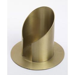 Röhren Taufkerzenhalter mit Schlitz, Messing Gold matt gebürstet für Ø 6 cm für Taufkerzen