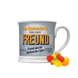 Retro Style Tasse Freund mit Spruch und mit Fruchtgummi 300g